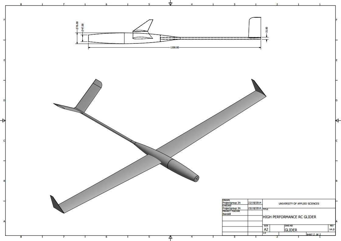 Drawings 1 of Model Glider, Project: Design Build and Fly